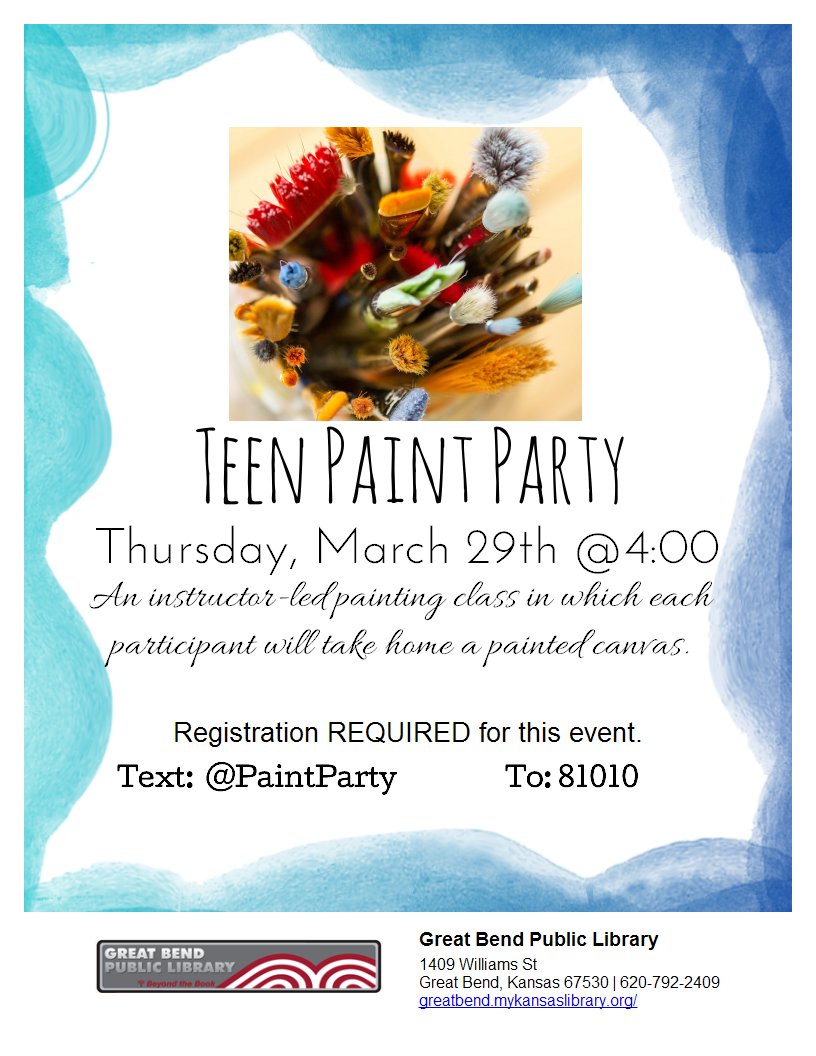 Paint Party (registration required for this event)