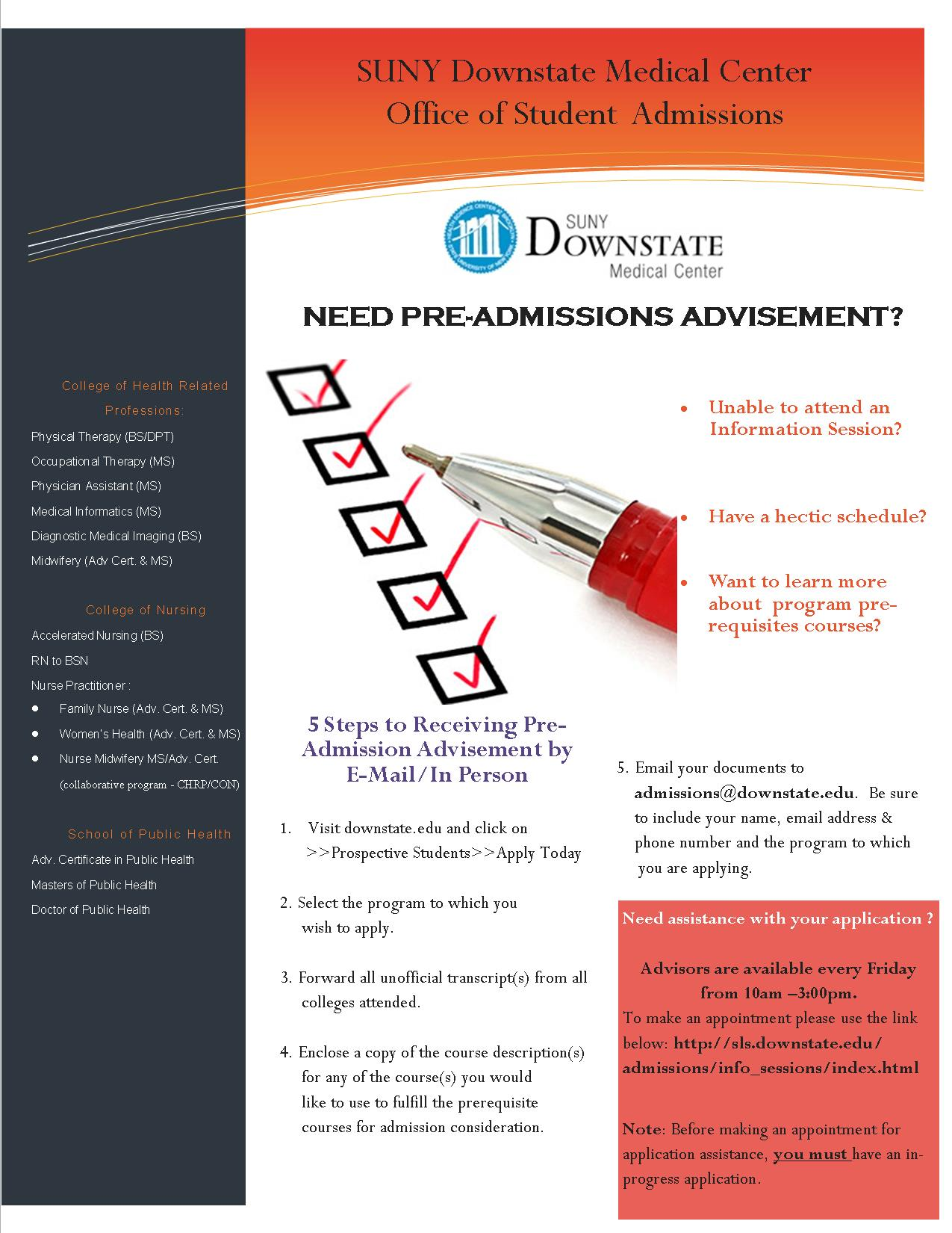 Application Assistance/Pre-Advisement Session