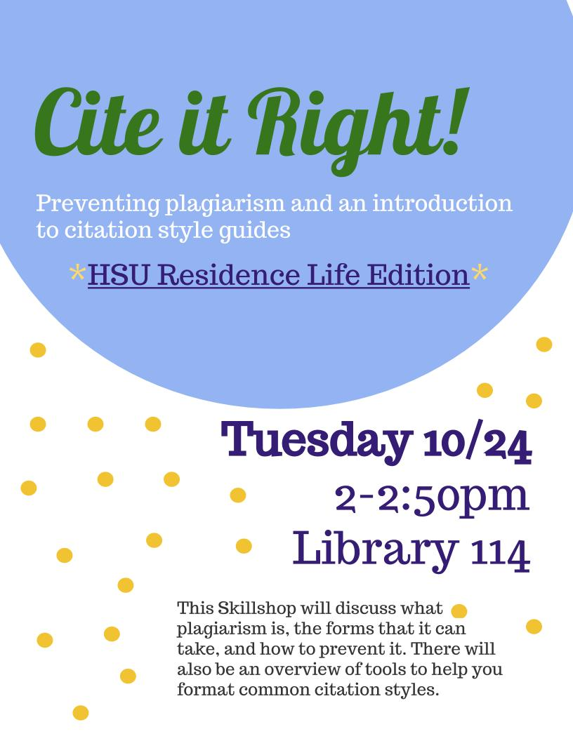 Cite it Right for HSU Residence Life