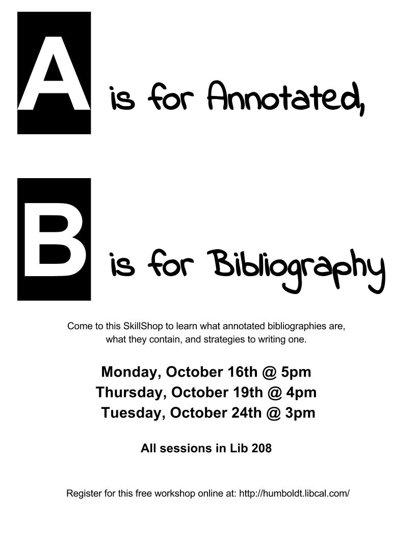 A is for Annotated, B is for Bibliography: Tips for writing an annotated bibliography