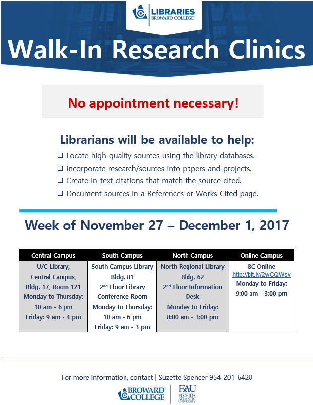 Walk-In Research Clinic Week - Nov 27-Dec 1