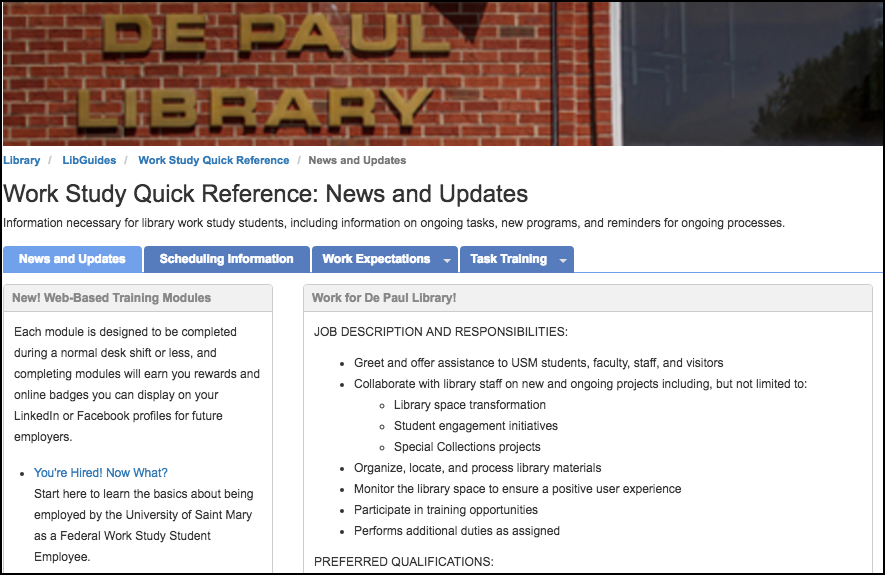 Univ. of Saint Mary: Using LibGuides to Train Student Workers