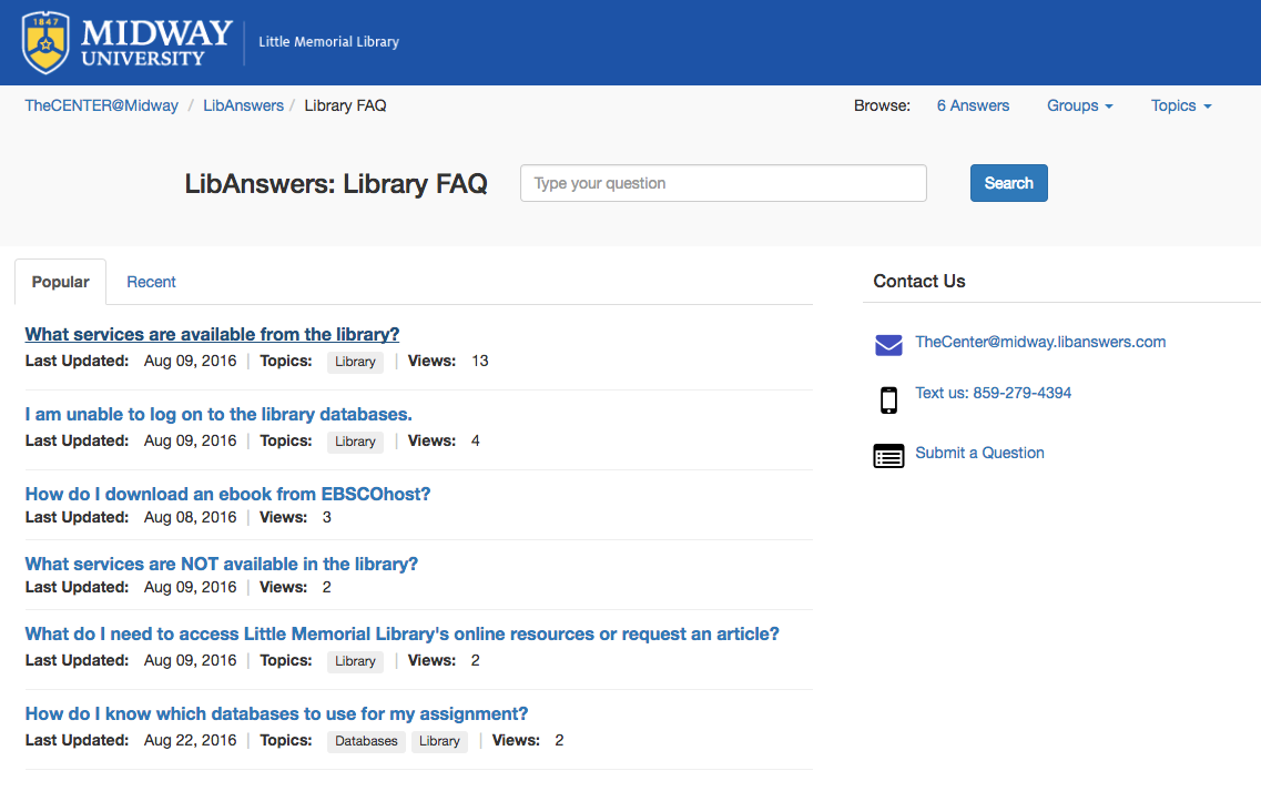 Midway University: Using LibGuides & LibAnswers for Communication and Collaboration