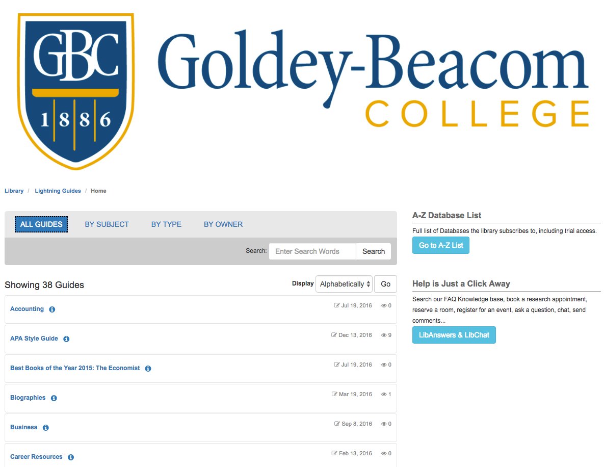 Goldey-Beacom College: Onboarding with LibGuides