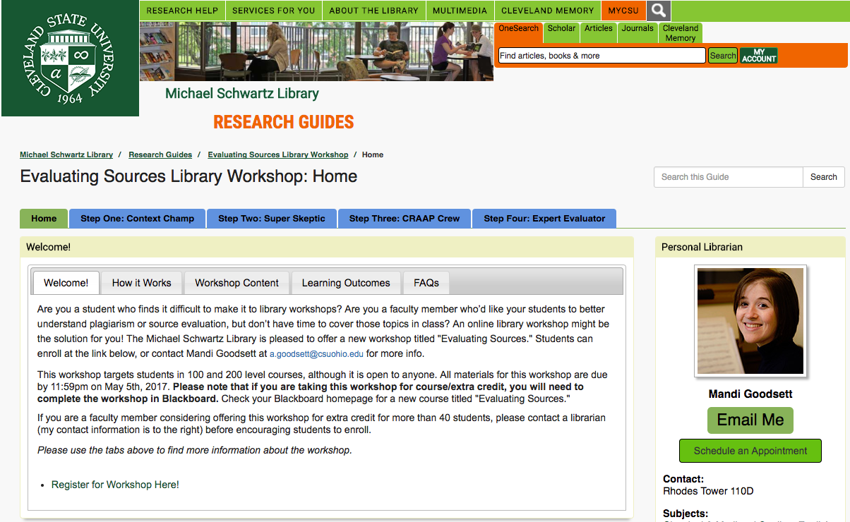 Cleveland State University: Building Online Workshops with LibGuides & LibWizard
