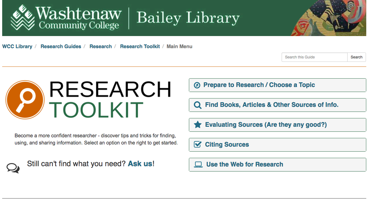 Washtenaw Community College: Creating a Research Toolkit