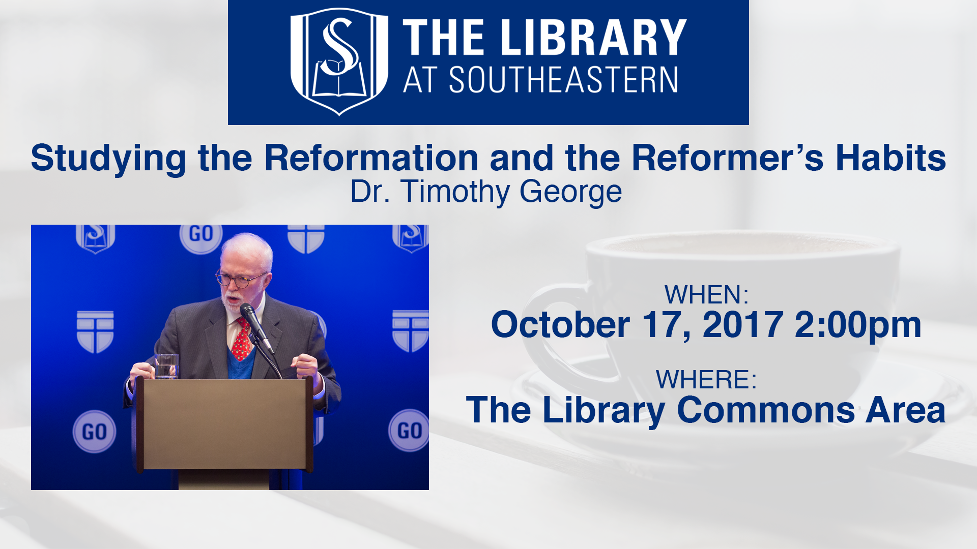 Library Talk: Timothy George on Studying the Reformation and the Habits of the Reformers.