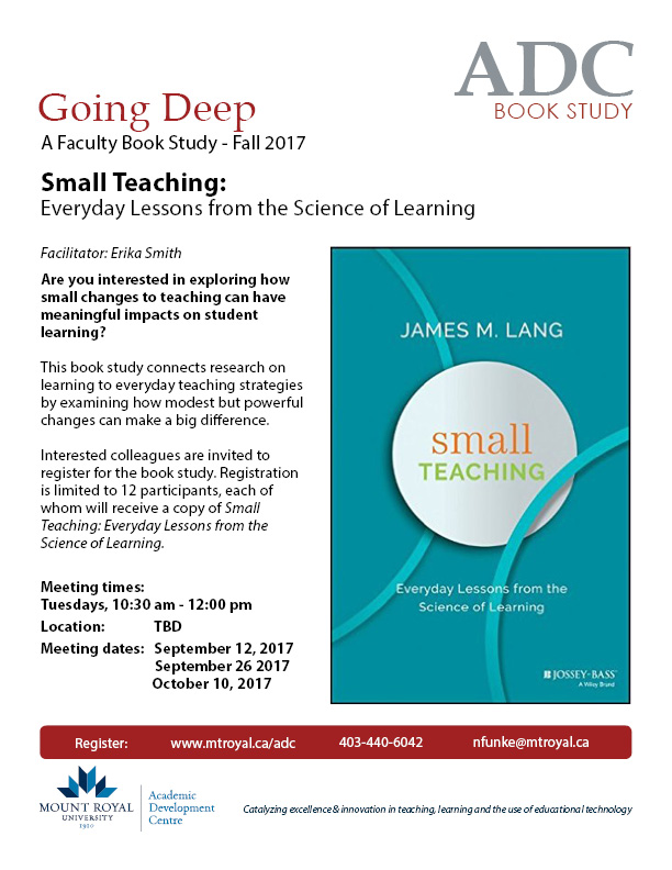 Going Deep Book Study: Small Teaching: Everyday lessons from the Science of Learning