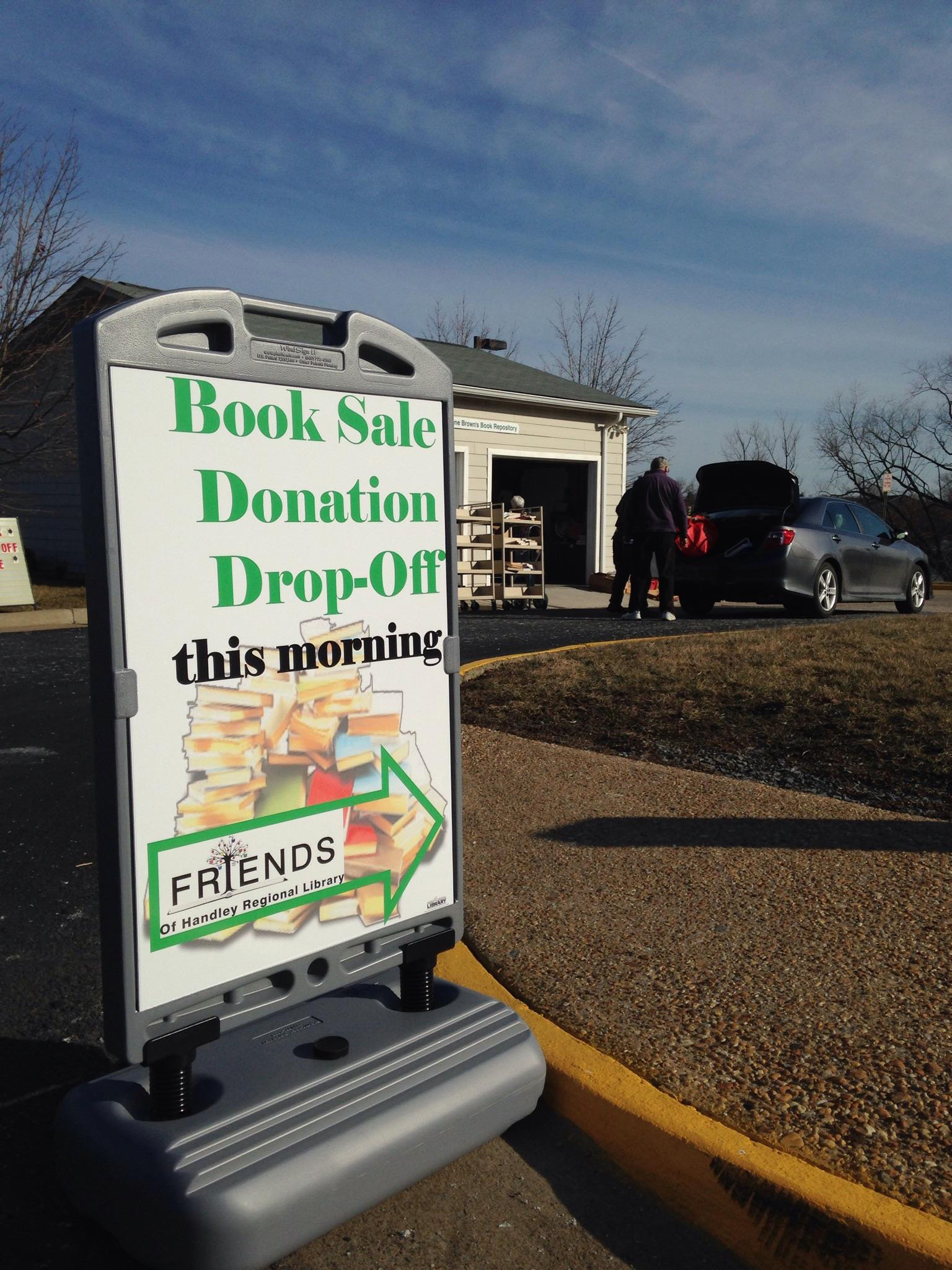 Book Drop Off Morning at Bowman Library