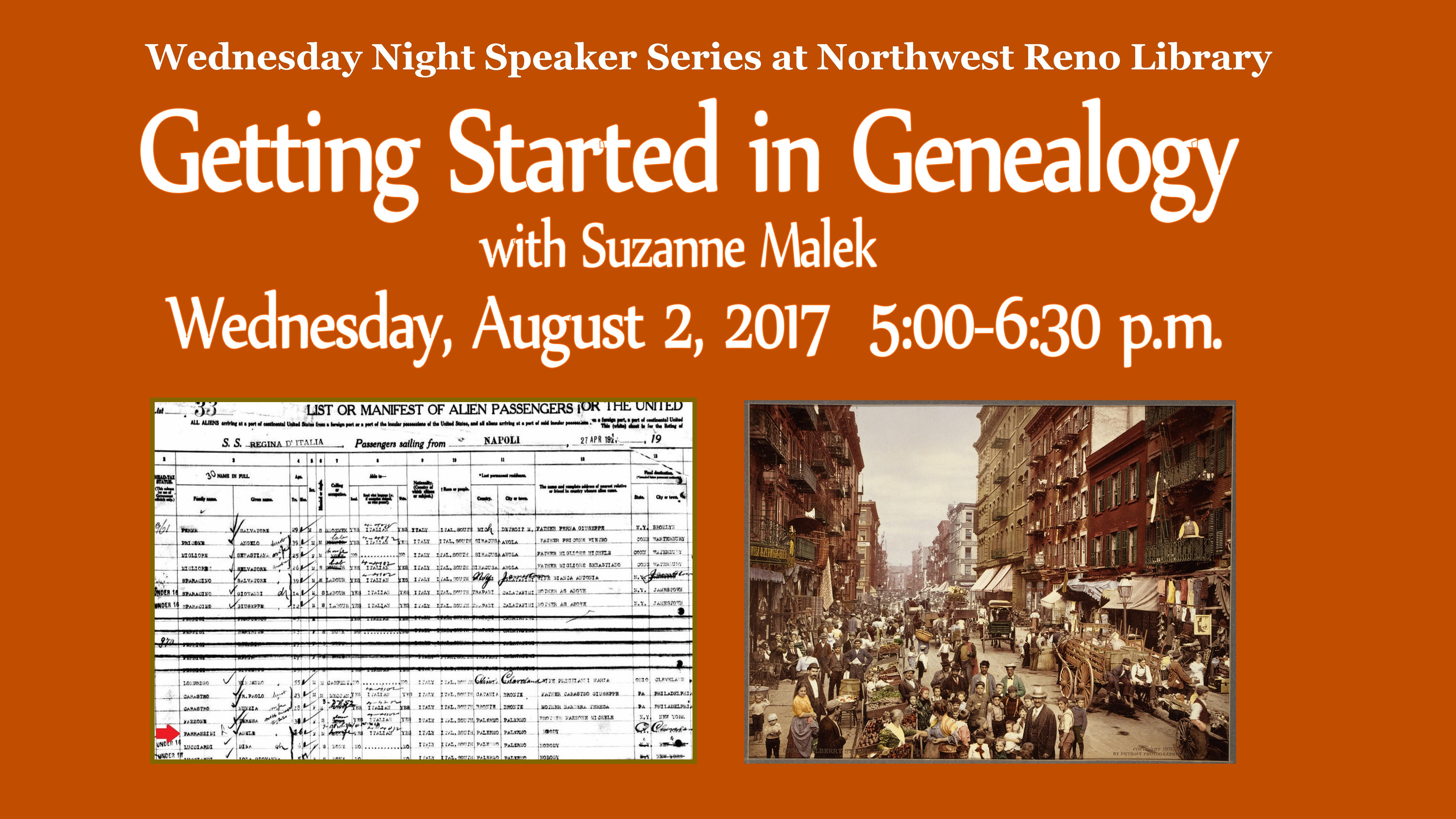 Speaker Series: Census Records and Genealogy, with TMCC Librarian Suzanne Malek