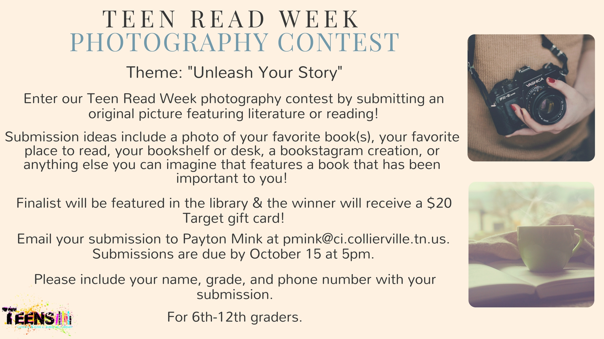 Teen Read Week Photography Contest