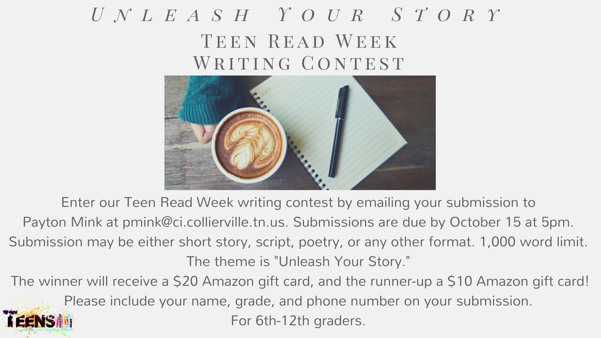 Teen Read Week Writing Contest