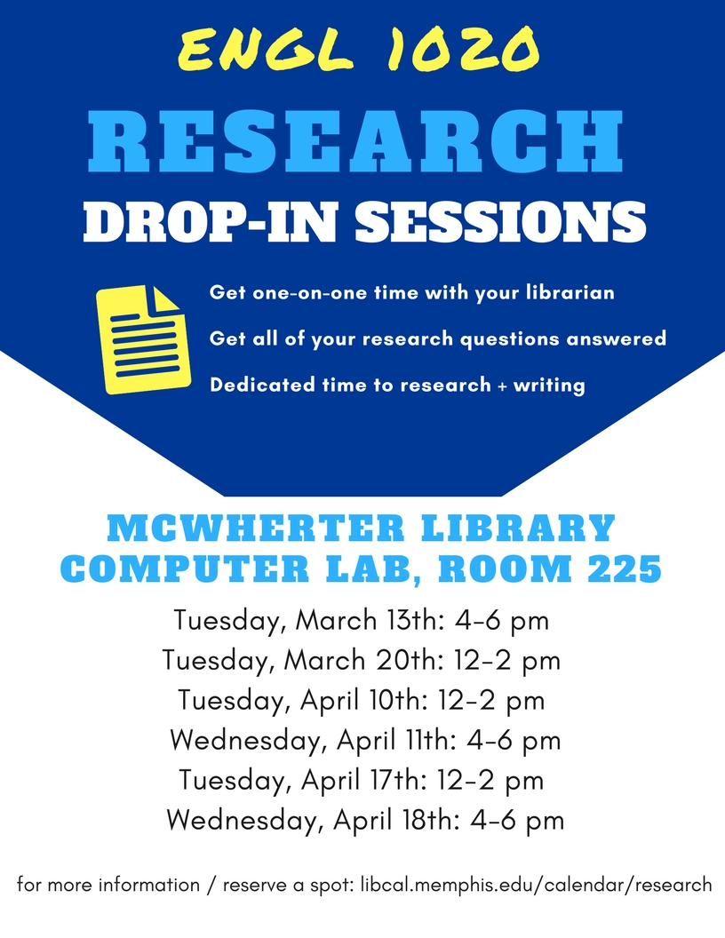 English 1020 Open Research Sessions