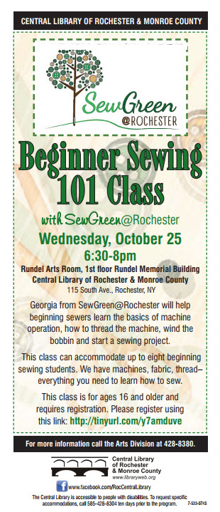 Sewing 101 with SewGreen@Rochester