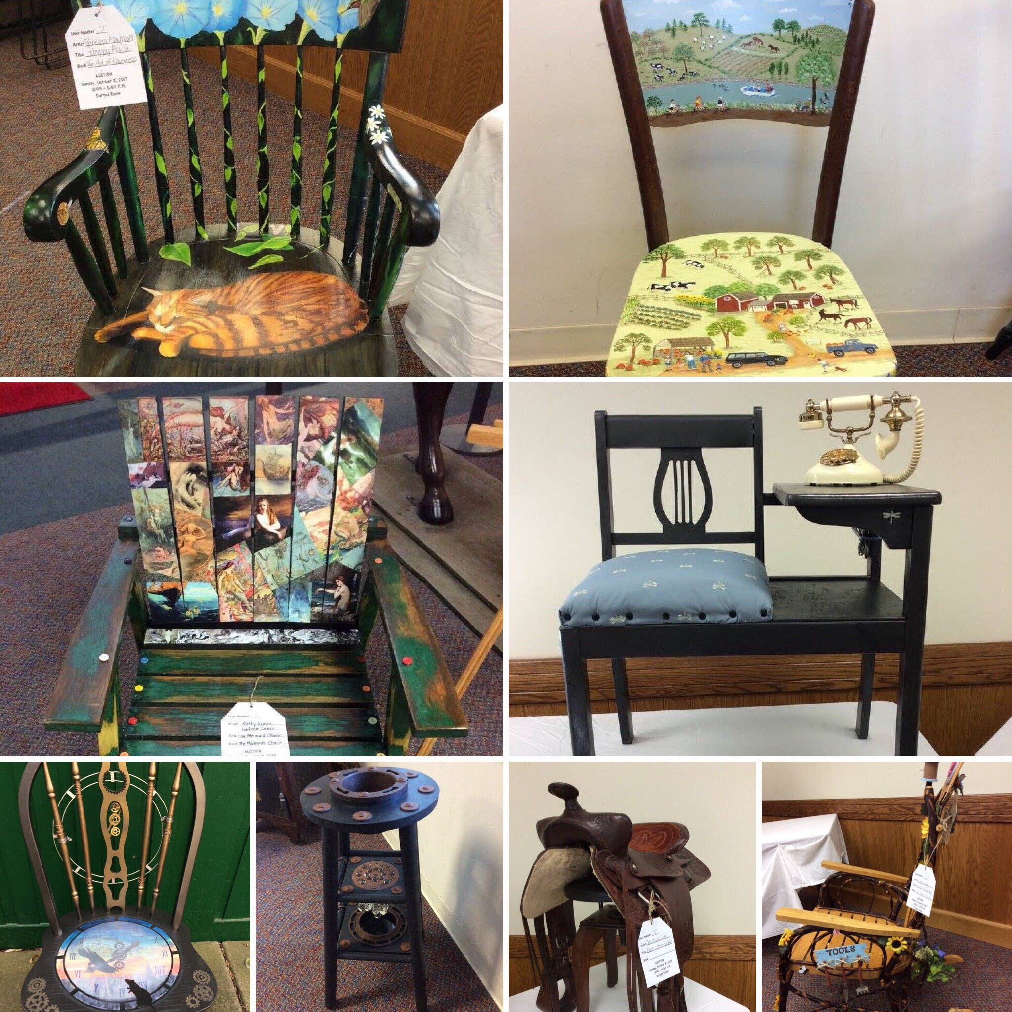 'Sit Right Down and Read' Chair and Bench Auction