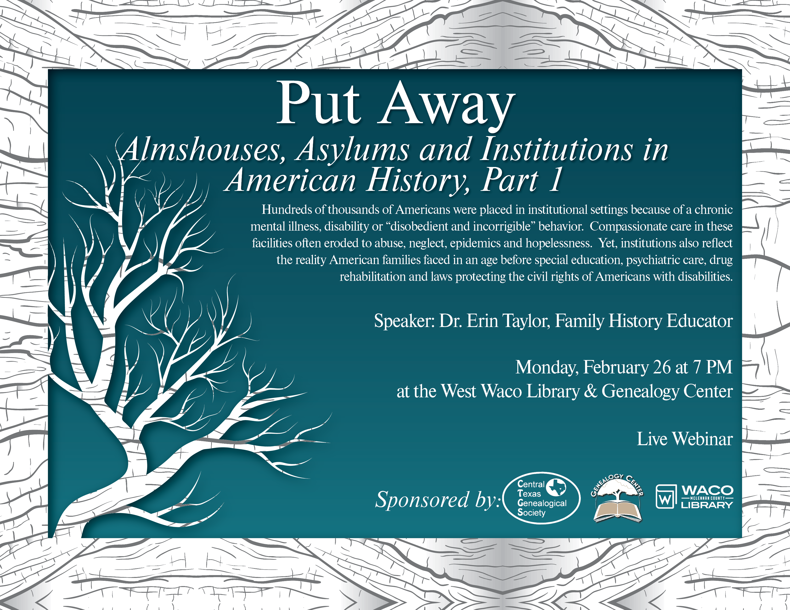 Put Away: Almshouses, Asylums and Institutions in American History, Part I