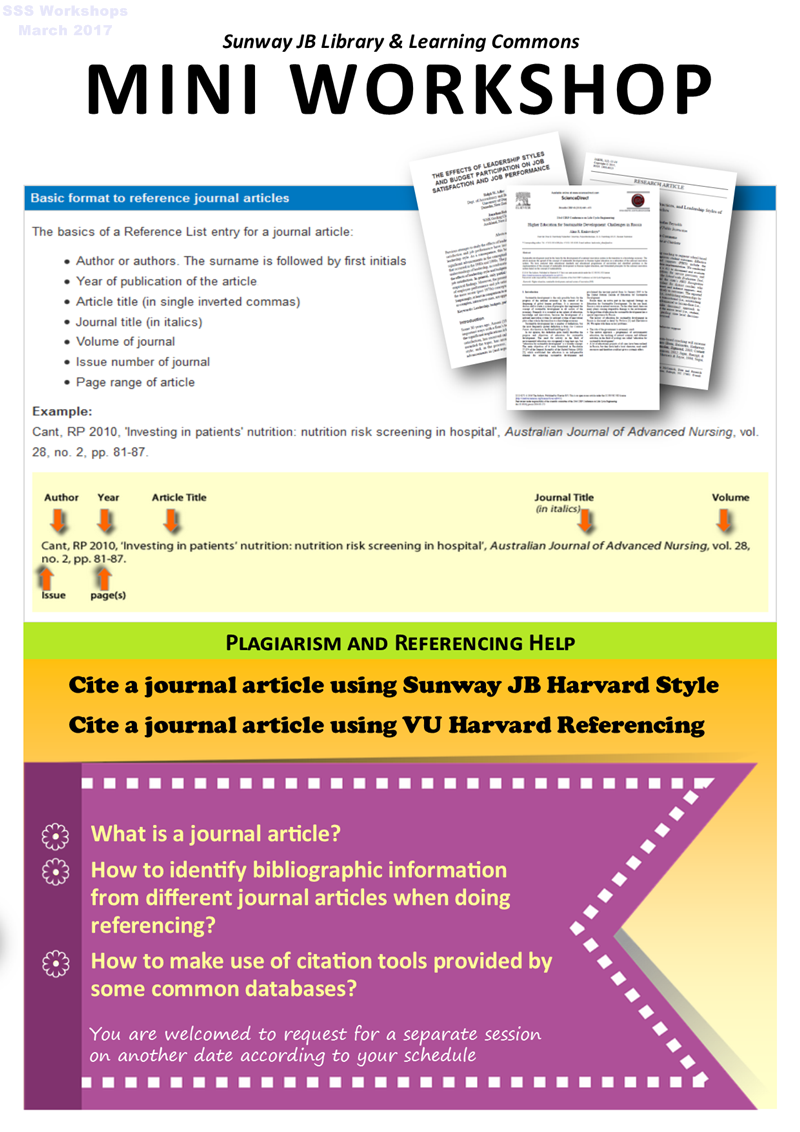 Cite a journal article using Sunway JB Harvard Style