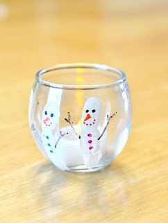 January Craft: Snowman Votive Candle Holders