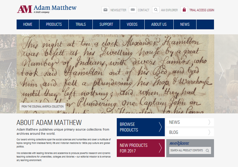 Adam Matthew Database Overview
