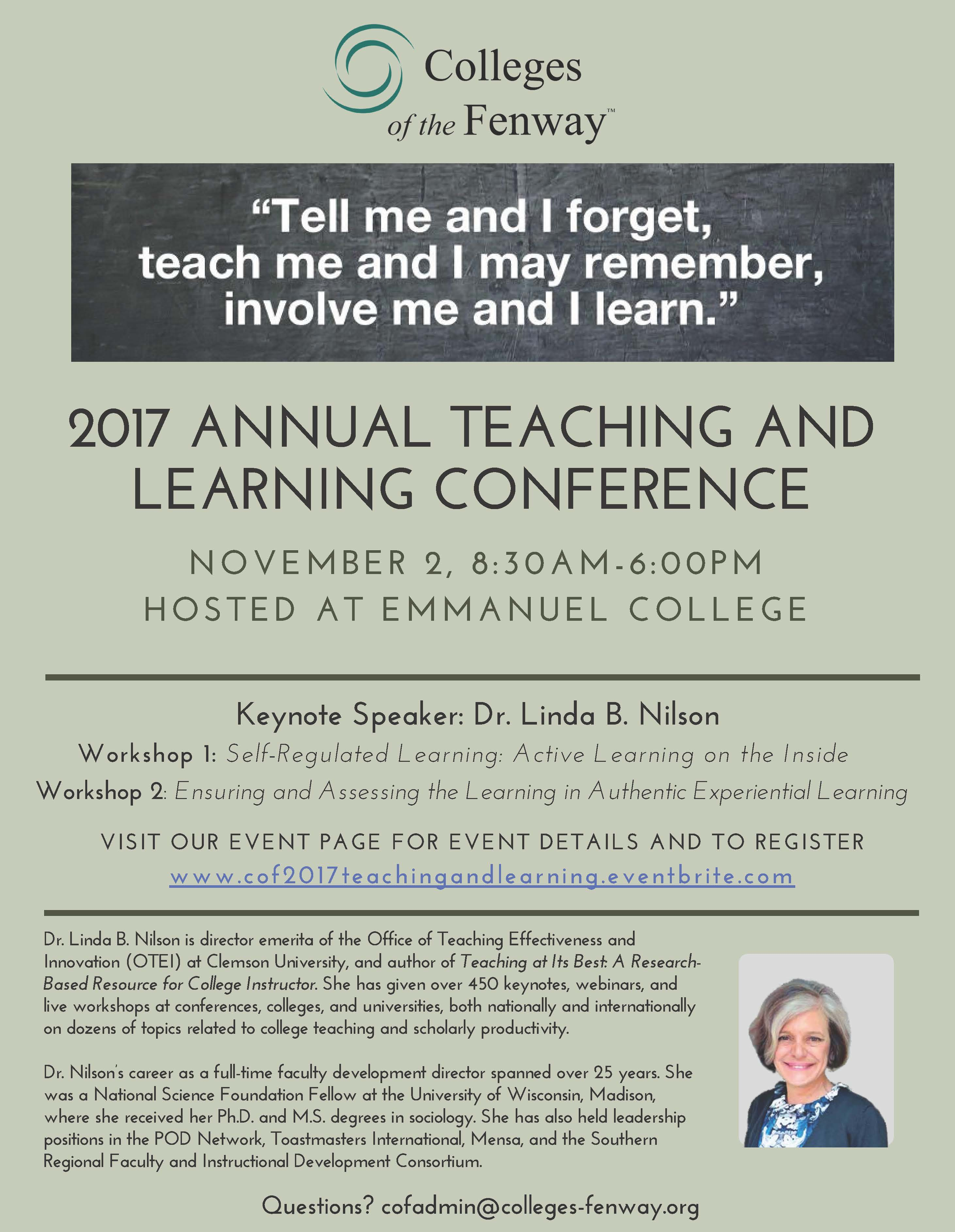 COF Teaching and Learning Conference November 2, 2017 (Free to MCPHS faculty & staff)