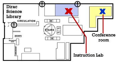 Dirac Science Instrction Lab and Conference room map
