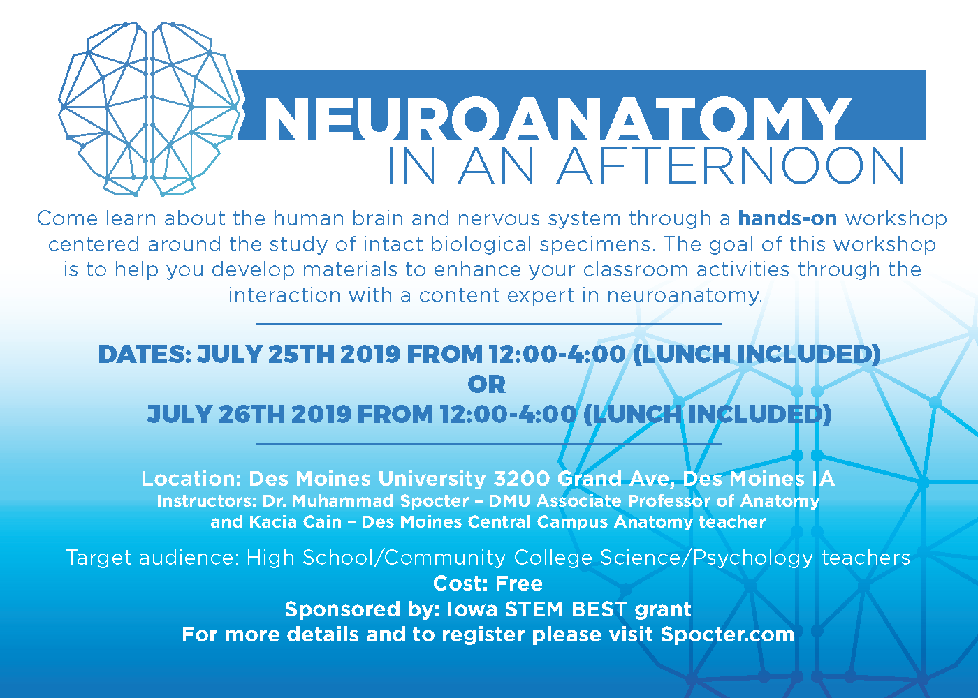 FREE teacher workshop: Neuroanatomy in an Afternoon