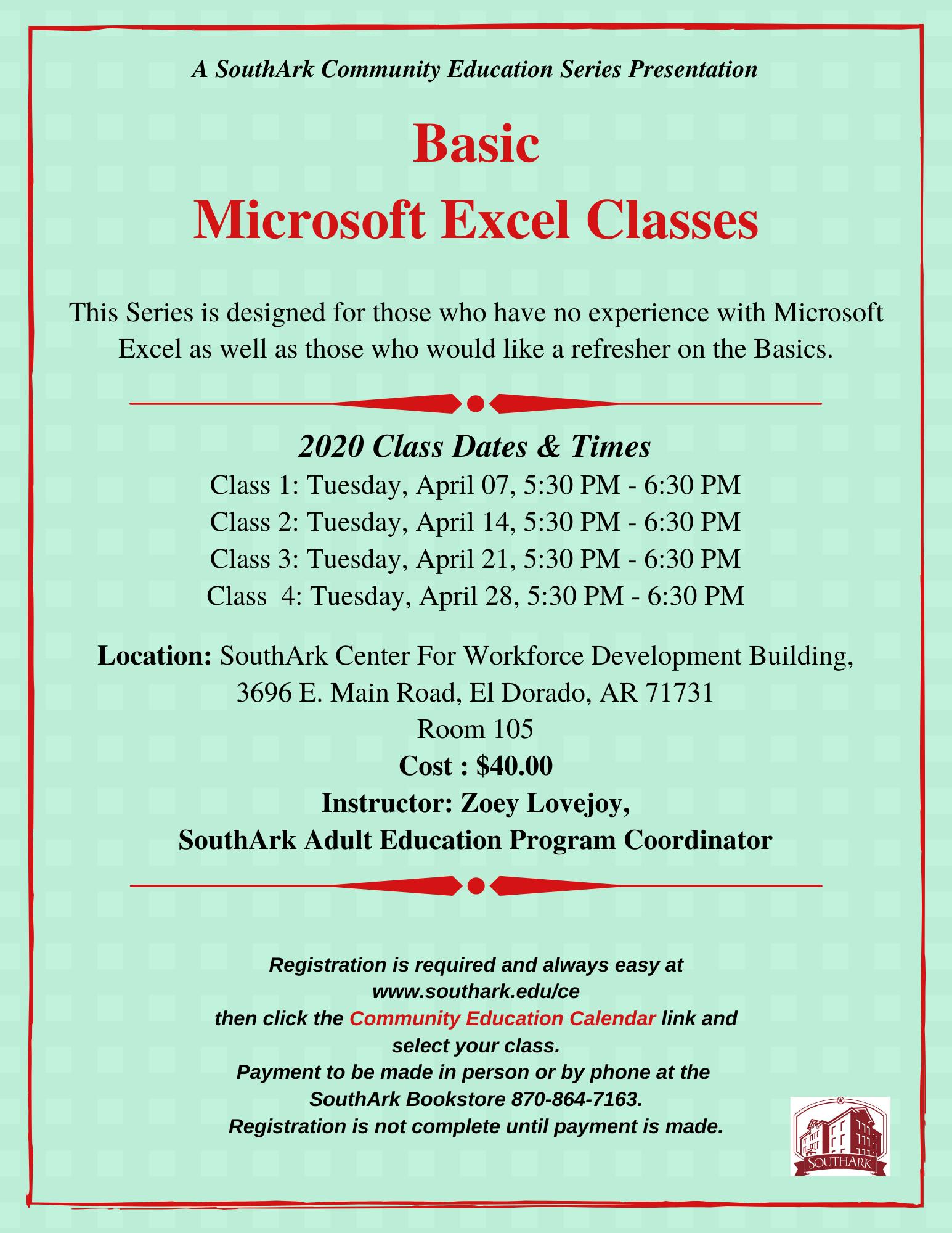 POSTPONED: Basic Microsoft Excel Classes