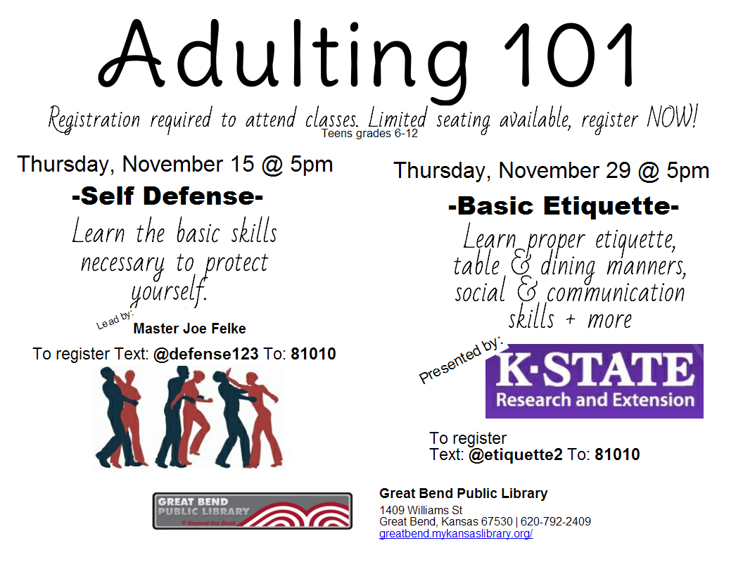 Adulting 101- Basic Etiquette *REGISTRATION REQUIRED*