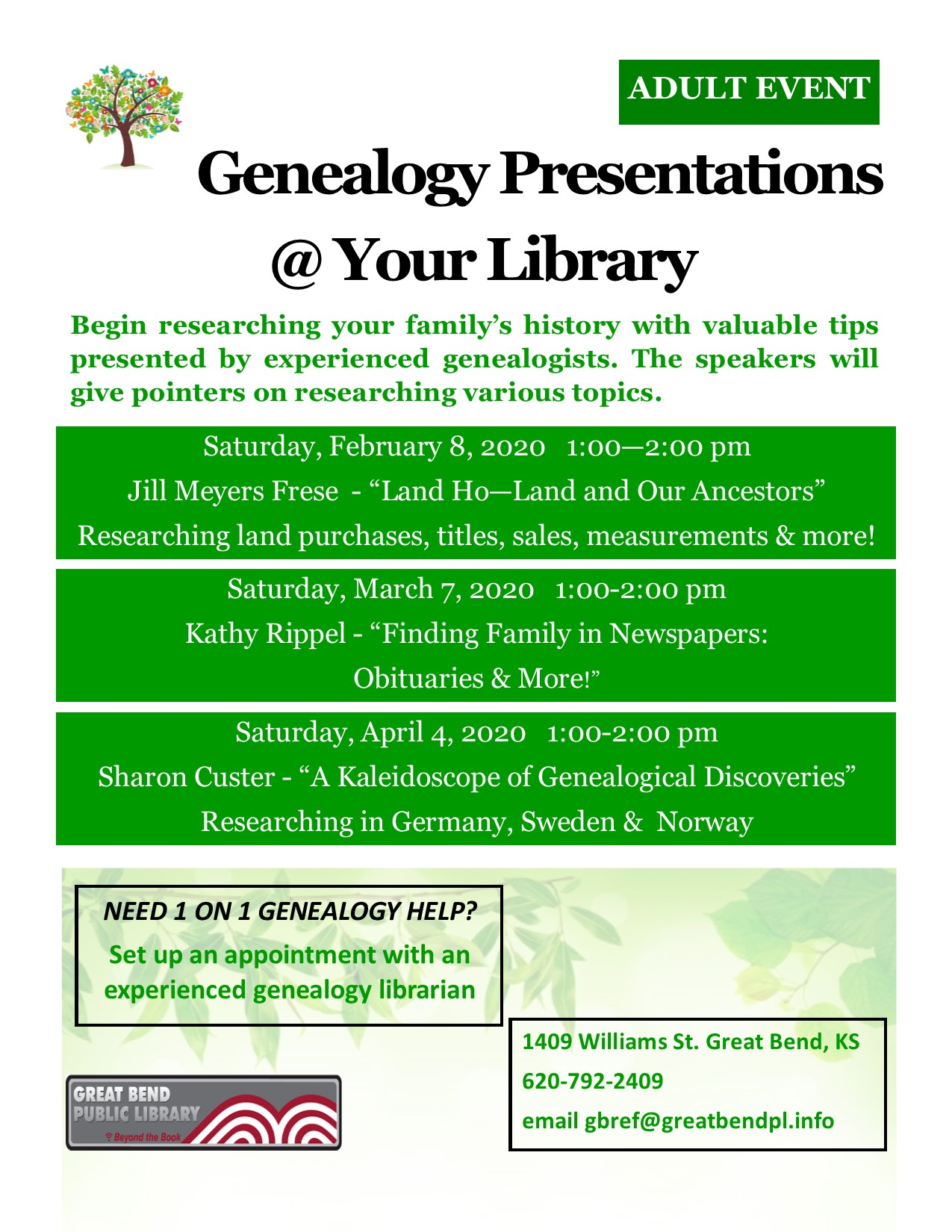 """Genealogy Presentation """"Land Ho! Questions about land purchases, sales, measurement, titles, etc., will be answered"""" by Jill Frese"""
