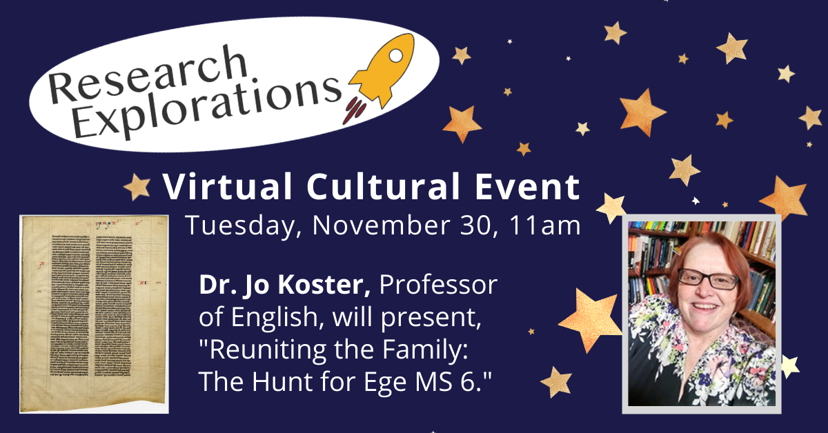 Research Explorations: Dr. Jo Koster (Virtual Cultural Event)