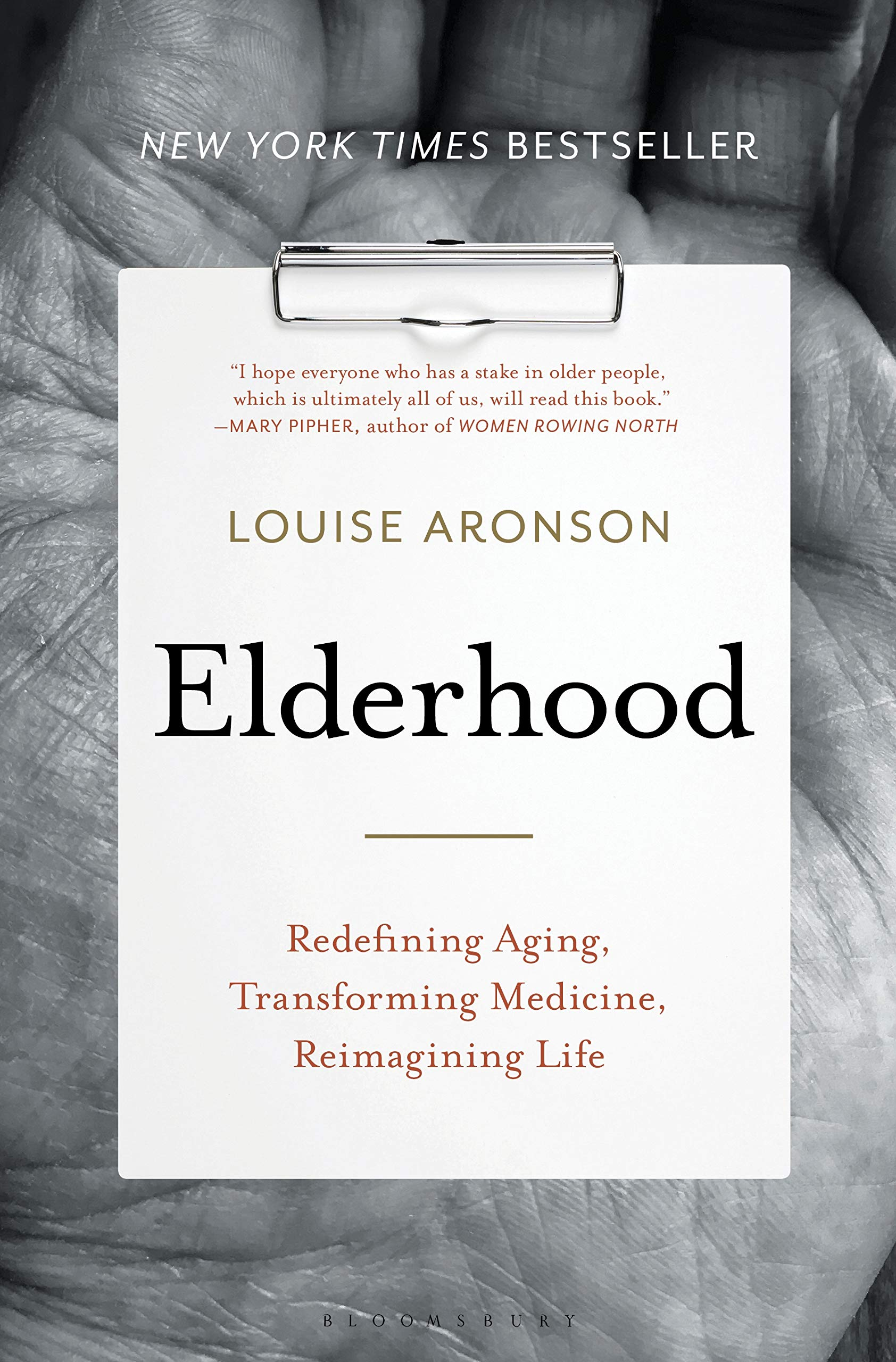 Book cover image of a palm in black and white. Author: Louise Aronson, Title: Elderhood: Redefining Aging, Transforming Medicine, Reimagining Life