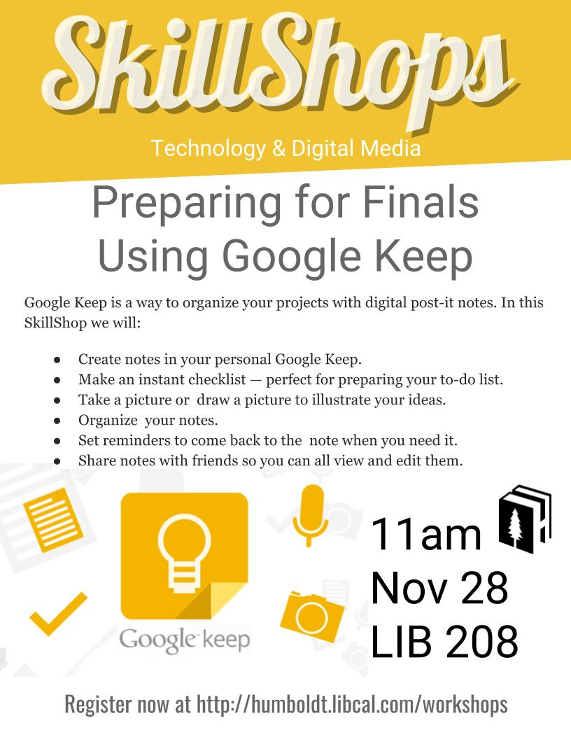 Preparing for Finals Using Google Keep