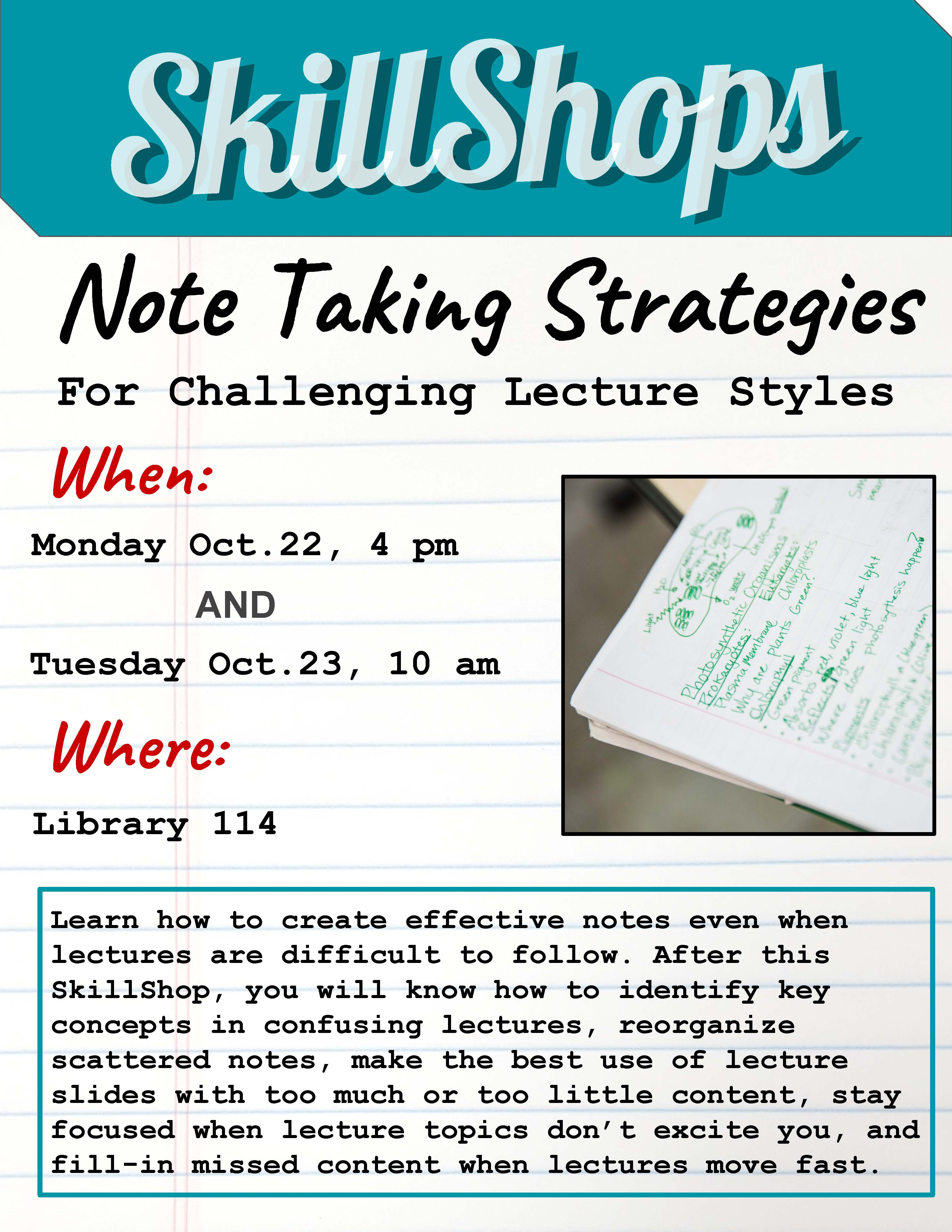 Note Taking Strategies for Challenging Lecture Styles