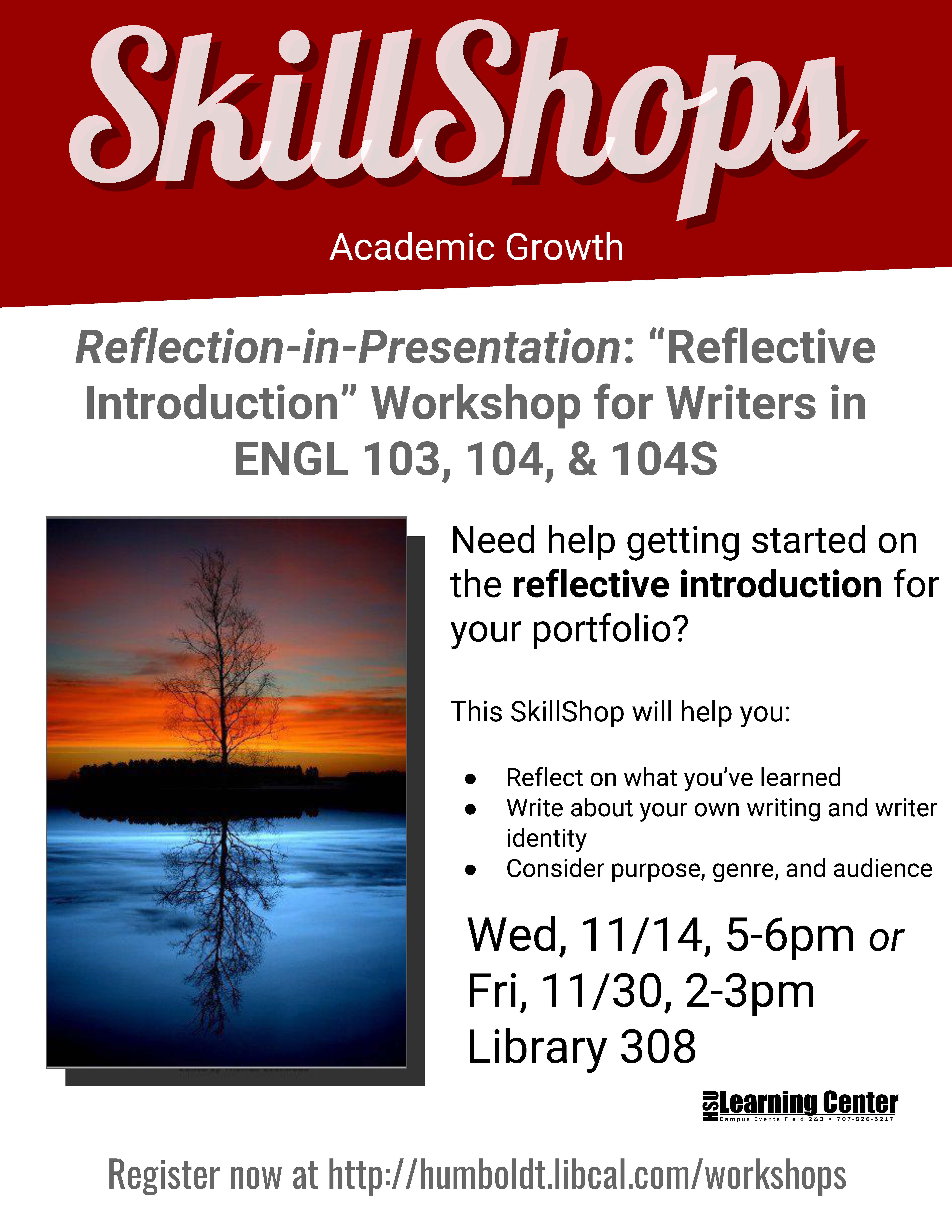 Reflective Introduction for Writers in ENGL 103, 104, & 104S