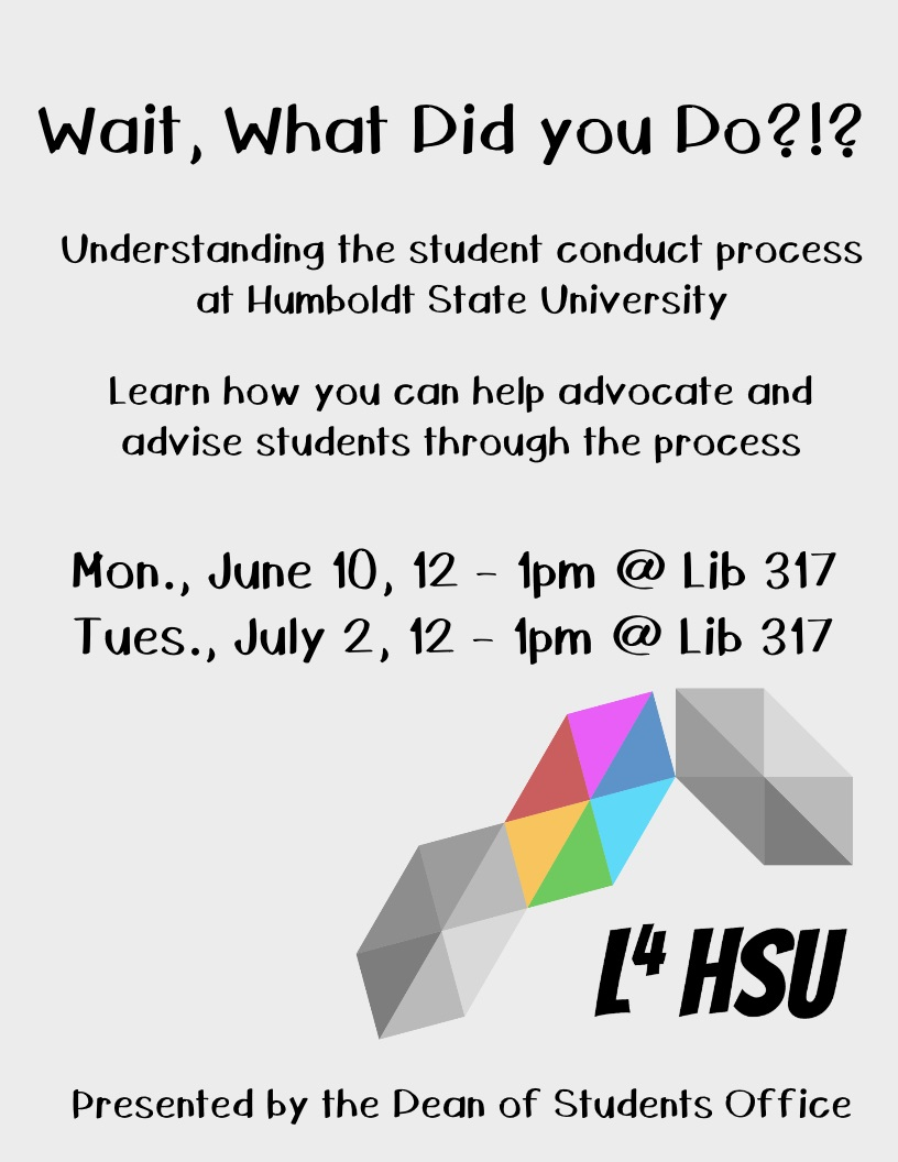 Wait, What Did you Do?!? Understanding the student conduct process at Humboldt State University