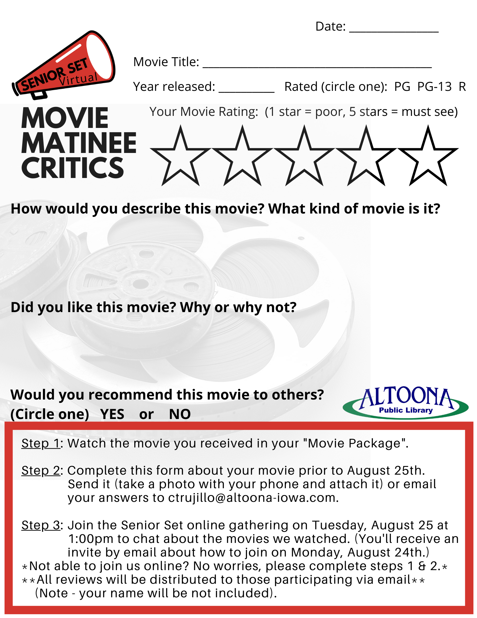 Senior Set: Movie Matinee, Online Edition (virtual)