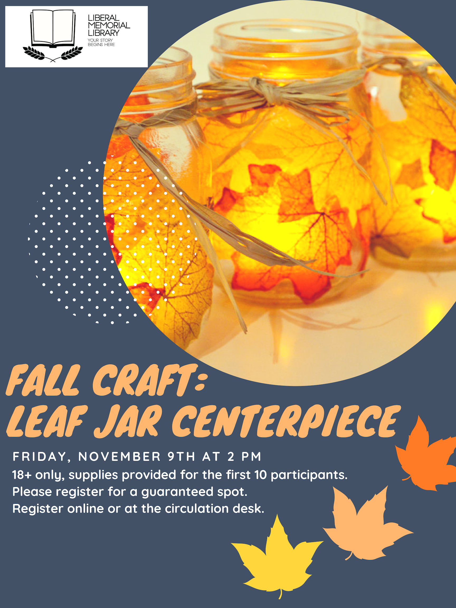 Fall Craft: Leaf Jar Centerpieces