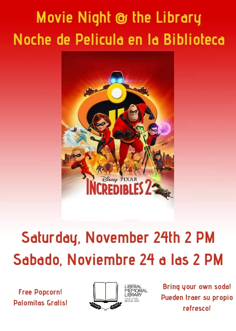 Movie Night @ the Library: Incredibles 2