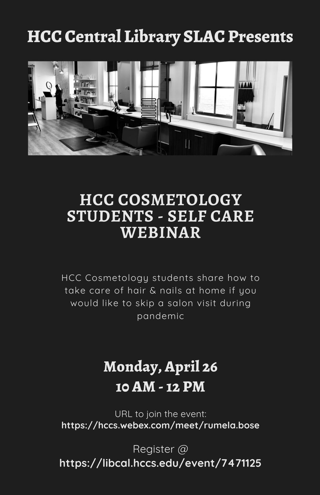 HCC Cosmetology Student - Self Care Webinar