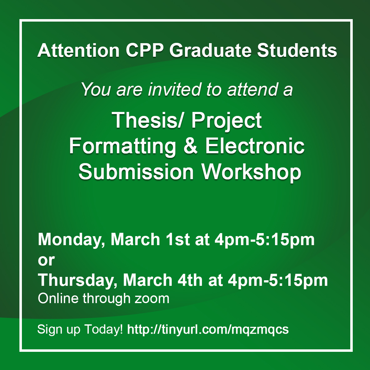 Master's Thesis/Project Formatting and submissions Workshop