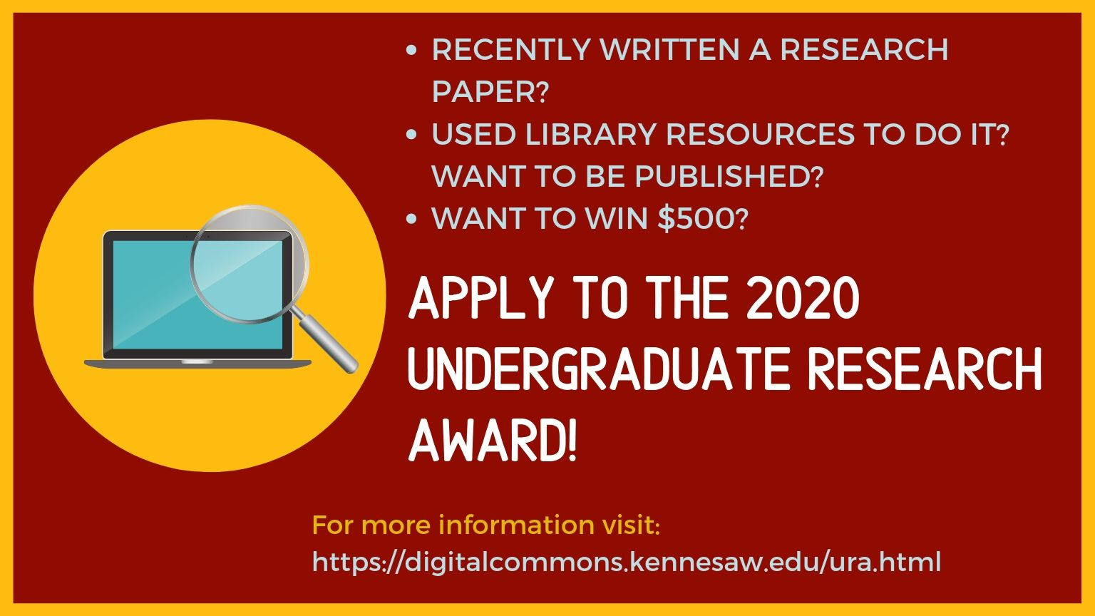 KSU Libraries: Undergraduate Research Award Information Session | Learn how you could win $500