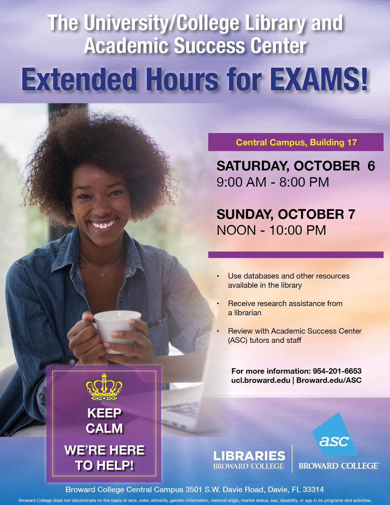 University/College Library Extended Hours: 9am- 8pm