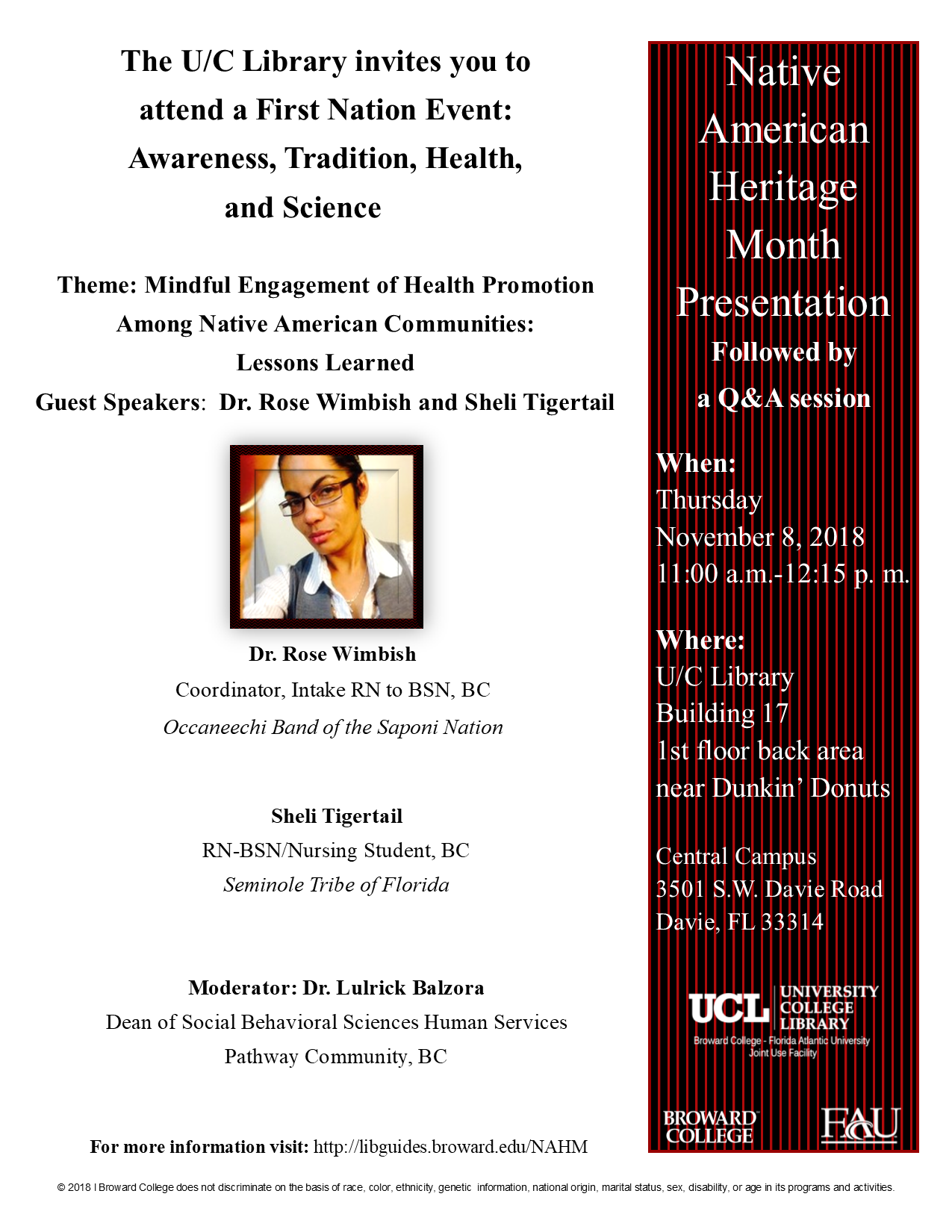 First Nation Event: Awareness, Tradition, Health, and Science