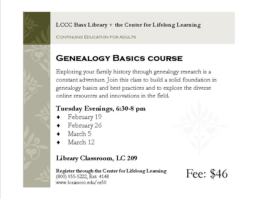 Genealogy Basics (Center for Lifelong Learning Course)