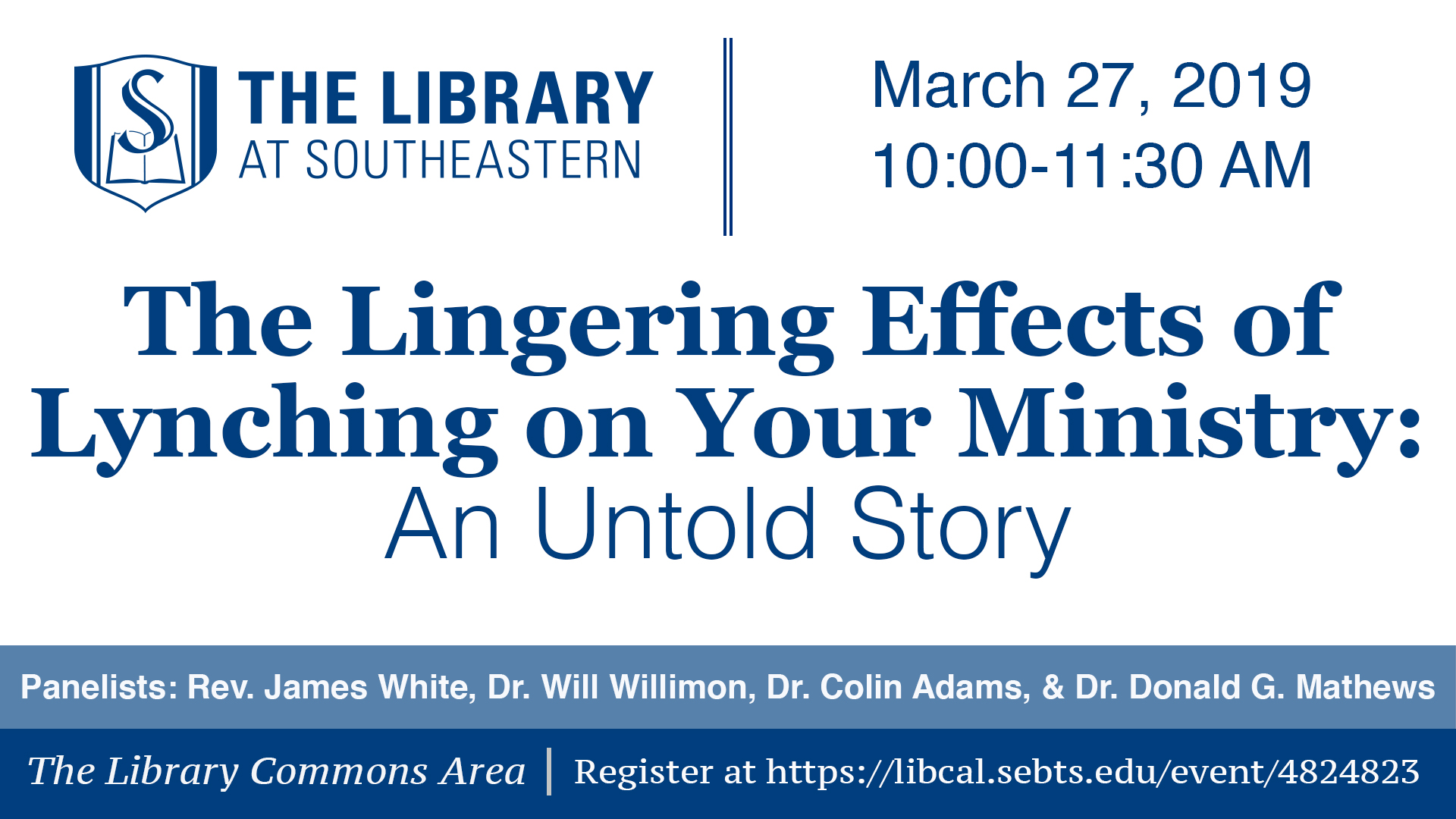 Library Talk: The Lingering Effects of Lynching on Your Ministry: An Untold Story.