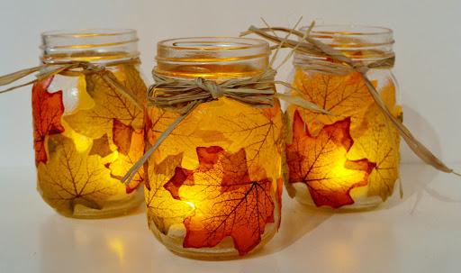 DIY - Fall Leaf Mason Jars