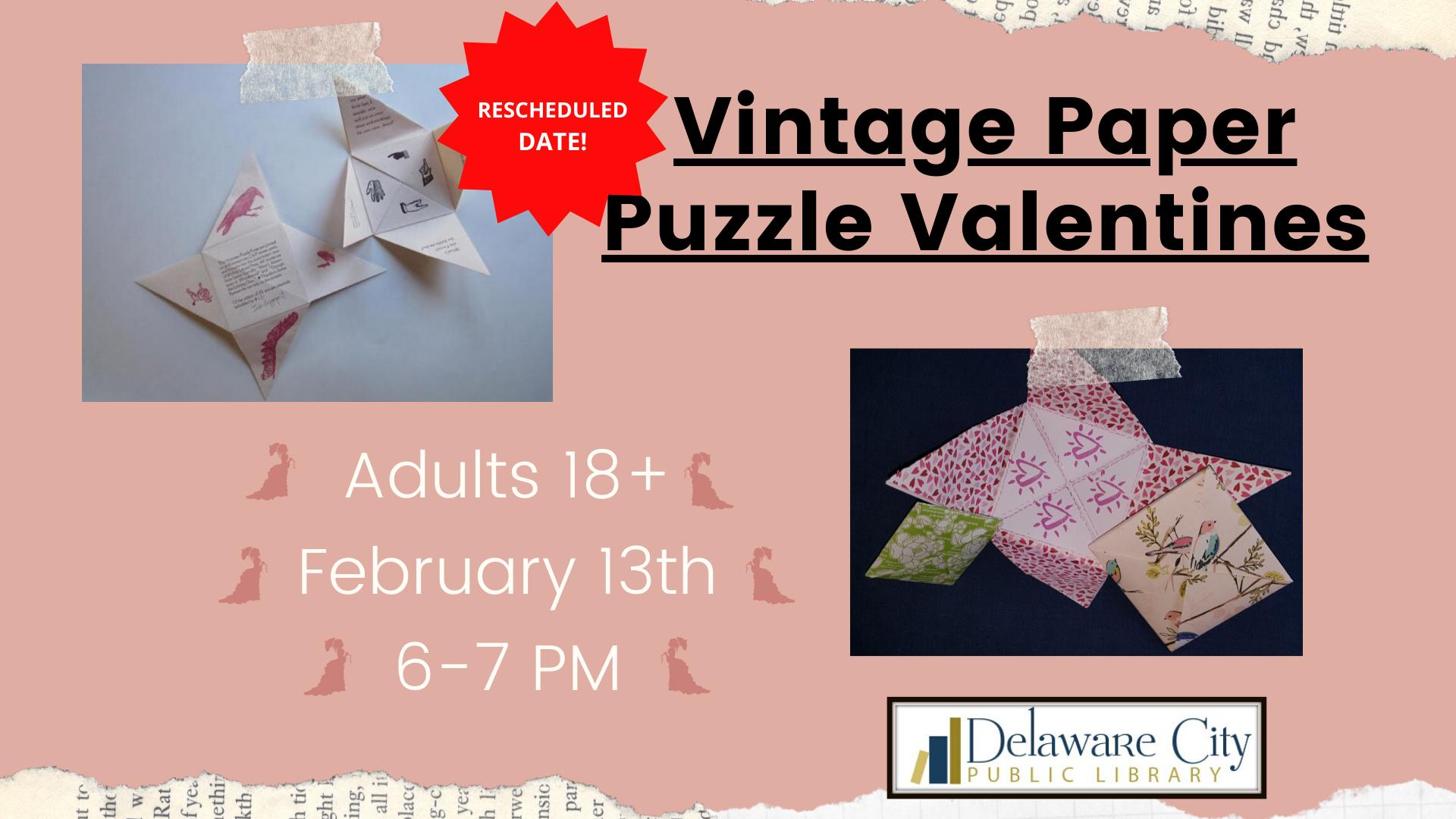 Vintage Paper Puzzle Valentines