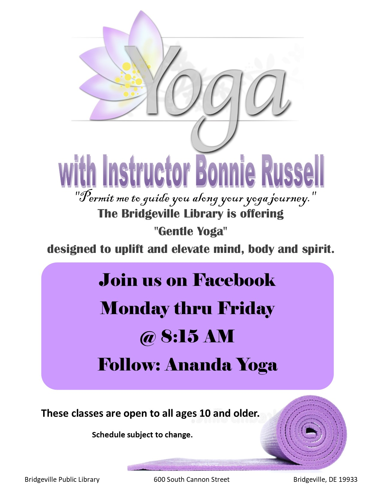 Gentle Yoga with Bonnie at the Bridgeville Library