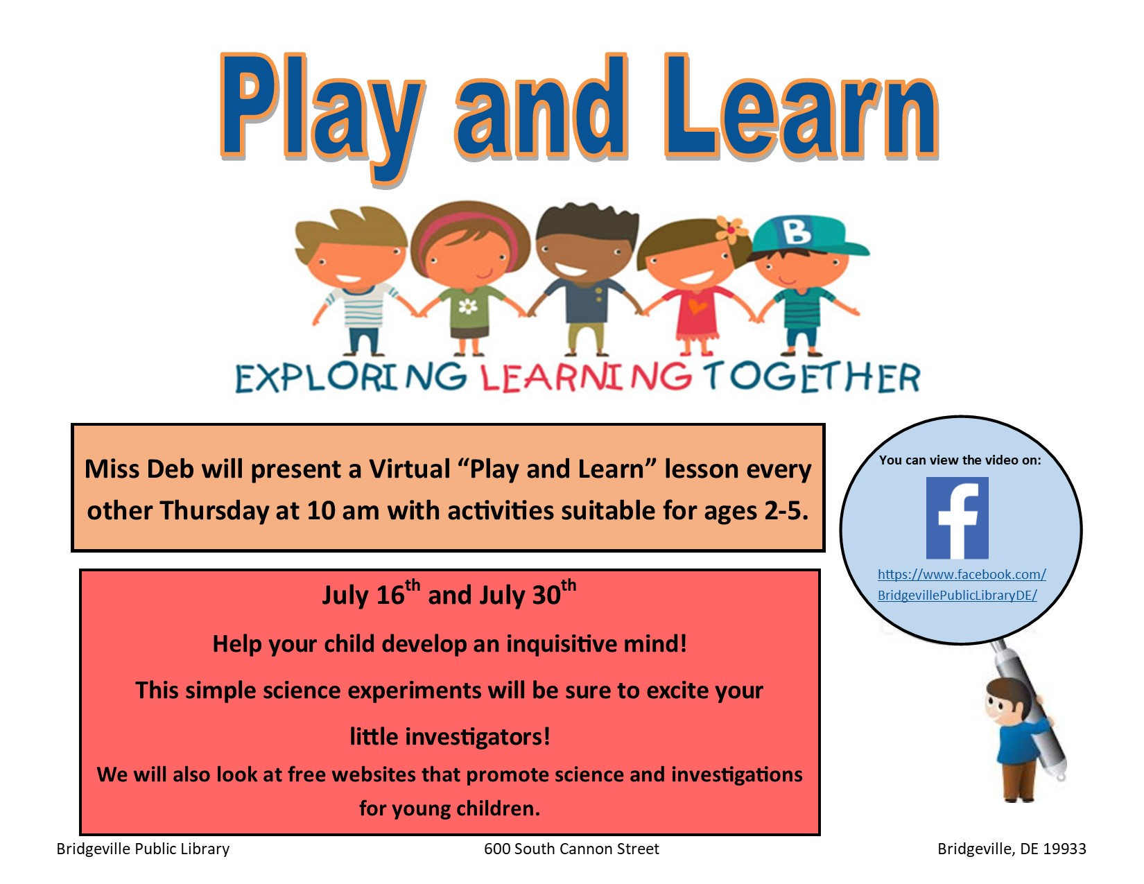 Play and Learn Lesson at the Bridgeville Library
