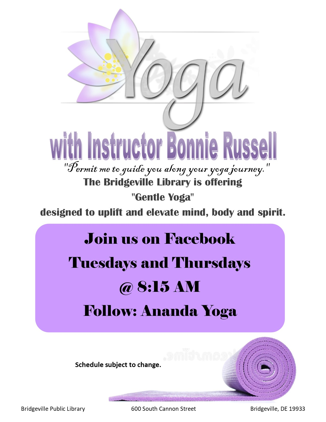 Virtual Gentle Yoga with Bonnie